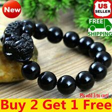 Feng Shui Obsidian Stone Wealth Pi Xiu Bracelet Attract Good Luck Wealth A+++rr