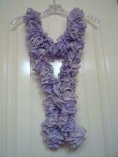 Handmade Crocheted Fashion Ruffle Scarf - Icy Lilac Metallic