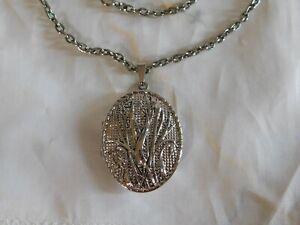 Vintage Silver Floral Photo Locket Necklace, Perfect