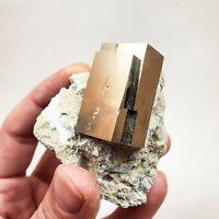 Rare Rectangular Pyrite Crystal on Matrix, Navajún, Spain, 2.9cm x 1.7cm x 1.4cm
