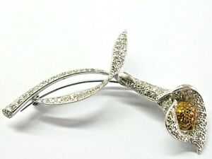 "Calla Lilly Diamond Pin/ Brooch 18Kt White Gold 1.25Ct 2.5"""