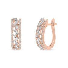 14K Rose Gold Baguette And Round Diamond Medley Huggie Earrings