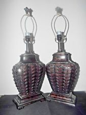 "LAMPS A PAIR OF 26""H FANCY BRONZE COLOR MOLDED RESIN ASIAN THEMED TABLE LAMPS"