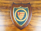 Antique Coat Of Arms Cathedral School Worcester Metal Crest Plaque Shield On Oak