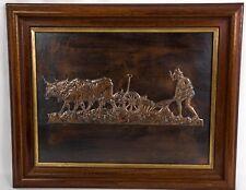 Tableau en cuivre représentant un laboureur aux champs