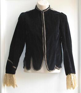 Vintage Kids Velveteen Long-Sleeve Jacket, Theatre, Costume, Steampunk, Black