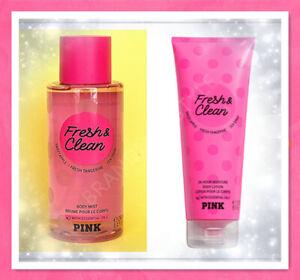 Victoria's Secret Pink FRESH & CLEAN Body Mist Spray 8.4 oz or Lotion 8 oz NEW