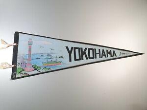 YOKOHAMA JAPAN VINTAGE PENNANT FLAG FELT - FREE POSTAGE