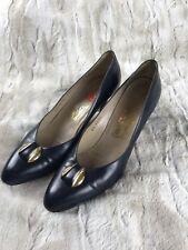 Salvatore Ferragamo Vintage Style Navy Pumps Size 9AA Toe Ornament Low Heel