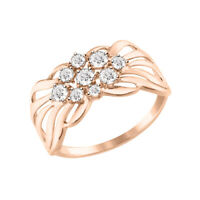 Elegant Ring, Russisches Rotgold 585 Rosegold Ring mit Zirkonia
