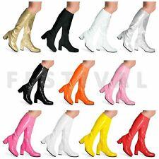 Womens Ladies Mens Fancy Dress 60s 70s 80s  Knee High Go Go Retro Fashion Boots