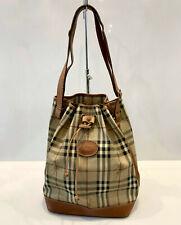 Vintage Burberry S Tote Bucket Bag Drawstring Haymarket Handbag