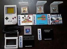 Nintendo Game Boy Weiß Handheld-Spielkonsole, 4 Spiele, Lupen-Aufsatz