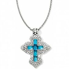 NWT Brighton THE WAY CROSS Blue German Glass Convertible LONG Necklace MSRP $98