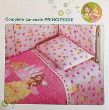 Set Lenzuola Lettino Baby Neonato Principesse Rosa Disney Caleffi Scontatissimo