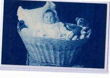 Cyanotype Real Photo Postcard RPPC - Baby in Basket with Teddy Bear