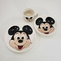 Disney Mickey Mouse Set Plate Bowl Coffee Cup Vtg Ceramic Signed by Artist 1980