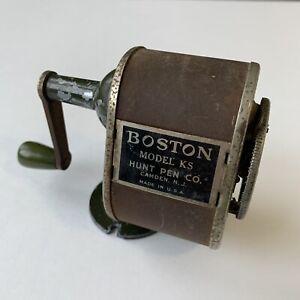 "Vintage ""Boston L"" Metal Pencil Sharpener, Desk Mount, Hand Crank, Antique!"