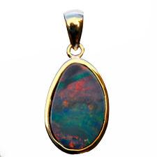 Amazing rainbow colors Natural Australia Doublet OPAL  9k Gold pendant 6.3ct 67