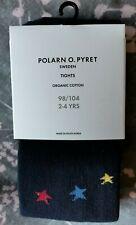 Polarn o. Pyret navy multi colour star tights foot grip CHRISTMAS 2-4yrs BNWT!!