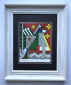 """ROY LICHTENSTEIN + AWESOME 1981 SIGNED BEAUTIFUL PRINT MATTED 11"""" X 14"""" + BUY"""