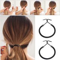 5pcs elastische Bögen dicke Haarbänder Gummi Haken Pferdeschwanz Inhaber