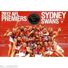 2012 SYDNEY SWANS AFL PREMIERS $1 UNC COIN IN FOLDER EX SOUTH MELBOURNE FOOTBALL