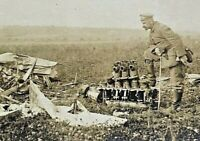 ORIGINAL WW1 GERMAN POSTCARD of a TERMINATED HOSTILE PLANE - PHOTO POSTCARD RPPC