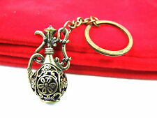 Vintage Antique Bronze Teapot Arabic Flower Keyring Bag Charm Handbag Keychain