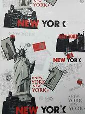New York Wallpaper Cityscape Postcards Stamps White Black Red Metallic Silver