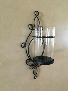 Black Wrought Iron Metal Wall Sconce Candle Holder w/ Clear Glass Shade