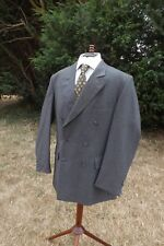 MEN'S CROMBIE DOUBLE BREASTED JACKET BLAZER SIZE 42R WOOL & CASHMERE IN CHARCOAL