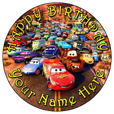 "Disney Pixar Cars Fiesta - 7.5"" Personalizado Redondo Glaseado Comestible Cake Topper"