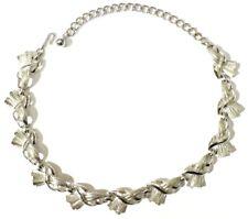 collier bijou vintage signé CORO maillon couleur argent poli necklace * 3963