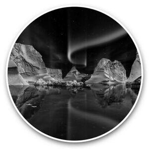 2 x Vinyl Stickers 10cm (bw) - Aurora Borealis Iceberg Night Scene  #43841