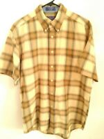 Pendleton Seaside Mens Large Tan Multicolor Plaid Short Sleeve Button Up Shirt