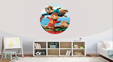 Alvin & Chipmunks  Self Adhesive Gloss Sealed Graphic Round Wall Decal Sticker