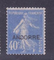 """ANDORRE STAMP TIMBRE N° 11 """" SEMEUSE FOND PLEIN 40c OUTREMER """" NEUF xx LUXE"""