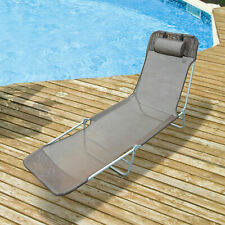 Outsunny Sun Lounger Bed Garden Chair Recliner Relaxing Camping Deck Adjustable