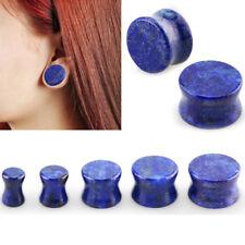 "Pair Blue Lapis Lazuli Stone Saddle Fit Gauge Double Flared Ear Plugs 6G-13/16"""