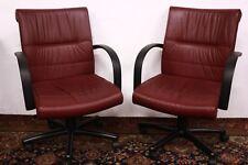 6 sedie / poltrone da ufficio in pelle bordeaux / viola office chair con ruote
