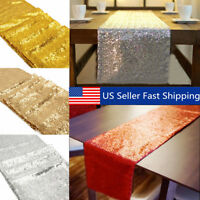 """12""""x108"""" Sparkly Rose Gold Table Runner Sequin Tablecloth Wedding Sequin  US A"""
