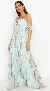 Boohoo Jessica Off the shoulder maxi dress, mint green, extra long, BNWT Size 16