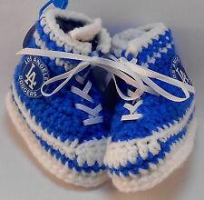 Custom Handmade Crochet Los Angeles Dodgers Baseball Blue High Tops Baby Booties