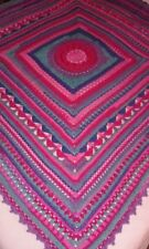 "HANDMADE CROCHET BLANKET/THROW/AFGHAN-MULTI COLOURED SQUARE-57""x 57""-NEW"