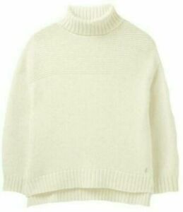 JOULES Anwen Contrast Stitch Roll Neck Jumper Chunky Cream RRP£79.95 FreeUKP&P