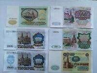 50 100 200 500 1000 rubles 1991 years USSR Russia perfect condition and 1992