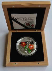 2016 Qulling Art Flowers Cook Islands 1/2 Oz Silver Proof Coin