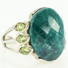Quartzite Ring Cubic Zirconia Sz 7 Vintage Sterling Silver Faceted Dyed Green