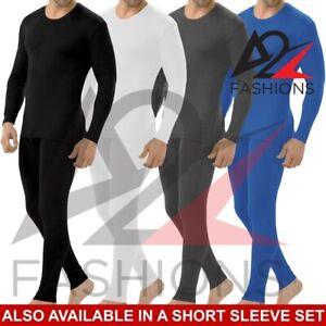 Men Thermal Long Johns Top T Shirt Bottom Trouser Underwear Set Full Sleeve Vest